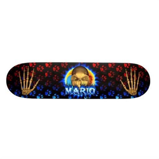 Mario skull blue fire Skatersollie skateboard. Custom Skate Board