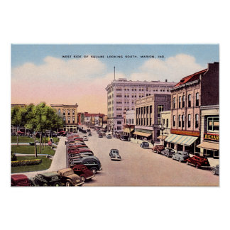 Marion, Indiana Downtown View Poster