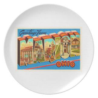Marion Ohio OH Old Vintage Travel Souvenir Dinner Plate