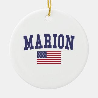 Marion US Flag Ceramic Ornament