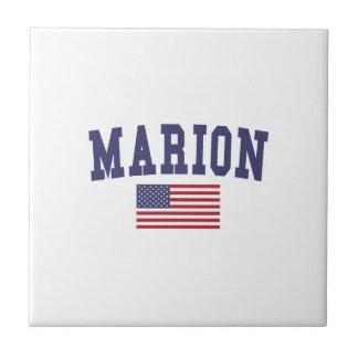 Marion US Flag Ceramic Tile