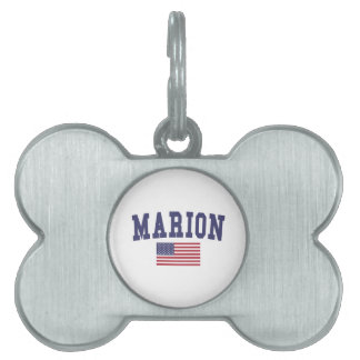 Marion US Flag Pet Name Tag