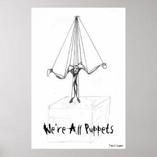Marioneta blanco y negro fresca en las secuencias  póster