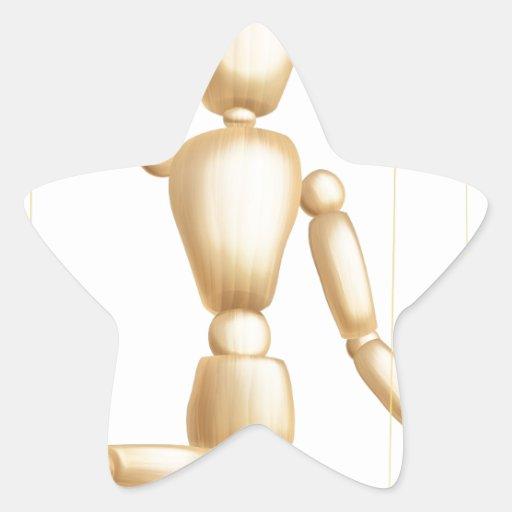Marioneta de madera pegatina forma de estrella