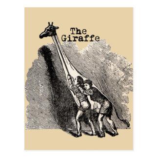 Marioneta del traje de la jirafa del vintage postal
