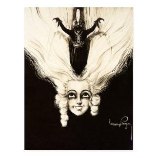 Marioneta francesa del vintage del pelo de la pelu tarjeta postal