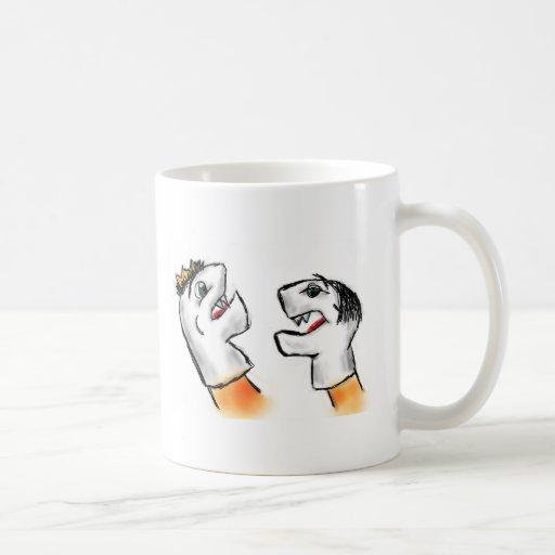 Marionetas del calcetín taza de café