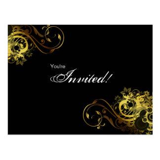 Mariposa 2 del oro de la invitación de la postal d