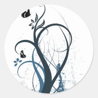 Mariposa 2 del remolino del Grunge - azul Pegatina Redonda