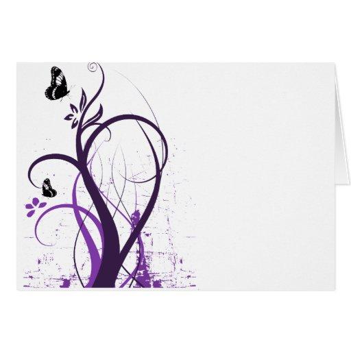Mariposa 2 del remolino del Grunge - púrpura Felicitacion