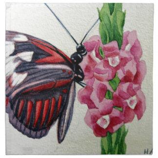 Mariposa 2 flor jardín pintura de la acuarela servilletas
