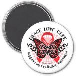 Mariposa 2 tribales de la enfermedad cardíaca imán para frigorifico