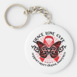Mariposa 2 tribales de la enfermedad cardíaca llaveros