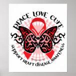 Mariposa 2 tribales de la enfermedad cardíaca posters