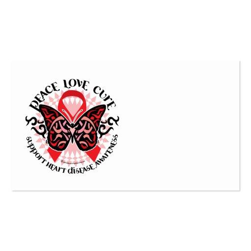 Mariposa 2 tribales de la enfermedad cardíaca tarjetas de visita