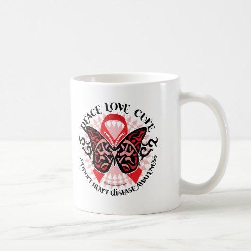 Mariposa 2 tribales de la enfermedad cardíaca taza de café