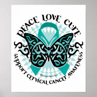 Mariposa 2 tribales del cáncer de cuello del útero póster