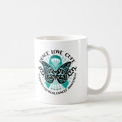 Mariposa 2 tribales del cáncer de cuello del útero taza de café