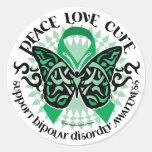 Mariposa 2 tribales del desorden bipolar etiquetas redondas