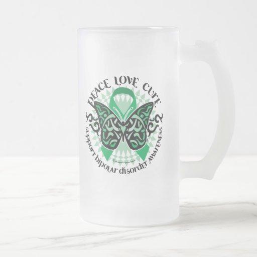 Mariposa 2 tribales del desorden bipolar taza de cristal