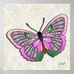 Mariposa - 33 - rosa y verde impresiones