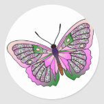 Mariposa - 33 - rosa y verde pegatina redonda