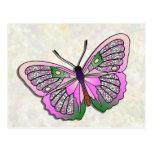 Mariposa - 33 - rosa y verde postal