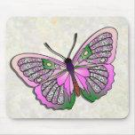 Mariposa - 33 - rosa y verde tapetes de ratón