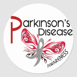 MARIPOSA 3,1 de la enfermedad de Parkinsons Pegatina Redonda