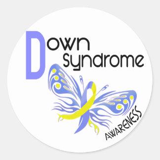 MARIPOSA 3,1 de Síndrome de Down Pegatina Redonda
