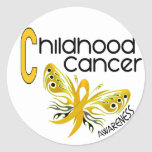 MARIPOSA 3,1 del cáncer de la niñez Pegatina Redonda