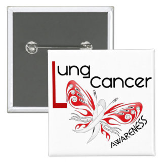 MARIPOSA 3,1 del cáncer de pulmón Pin Cuadrado