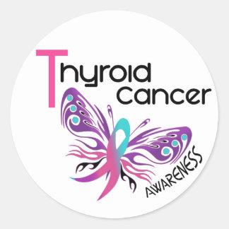 MARIPOSA 3,1 del cáncer de tiroides Pegatinas Redondas