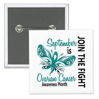 Mariposa 3,1 del mes de la conciencia del cáncer o pin cuadrado