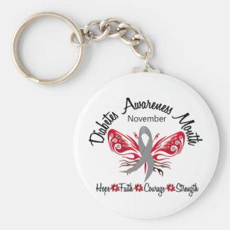 Mariposa 3,2 del mes de la conciencia de la diabet llavero redondo tipo pin