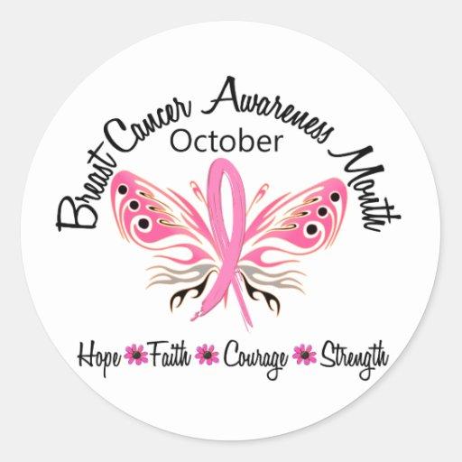 Mariposa 3,2 del mes de la conciencia del cáncer pegatina redonda