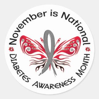 Mariposa 3,3 del mes de la conciencia de la diabet etiquetas