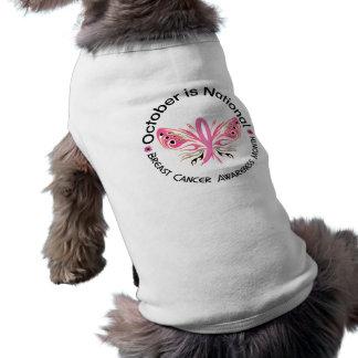 Mariposa 3,3 del mes de la conciencia del cáncer d camiseta de perro