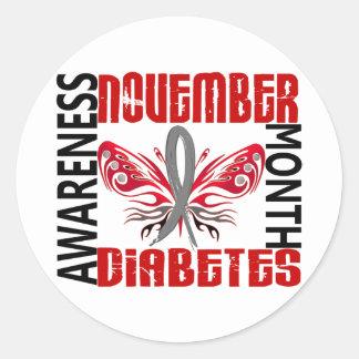 Mariposa 3,4 del mes de la conciencia de la diabet etiquetas