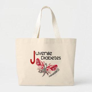 MARIPOSA 3 de la diabetes juvenil Bolsa Tela Grande