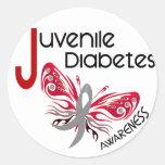 MARIPOSA 3 de la diabetes juvenil Etiqueta Redonda