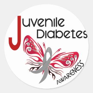 MARIPOSA 3 de la diabetes juvenil Pegatina Redonda