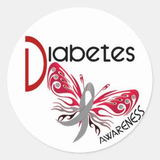 MARIPOSA 3 de la diabetes Pegatina Redonda