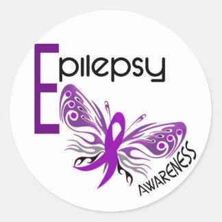 MARIPOSA 3 de la epilepsia Pegatina Redonda