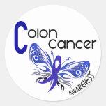 MARIPOSA 3 del cáncer de colon Pegatina Redonda