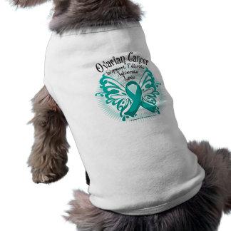 Mariposa 3 del cáncer ovárico camiseta de perro