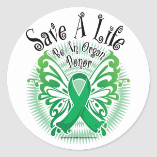 Mariposa 3 del donante de órganos etiquetas redondas