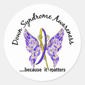 Mariposa 6,1 Síndrome de Down Pegatina Redonda