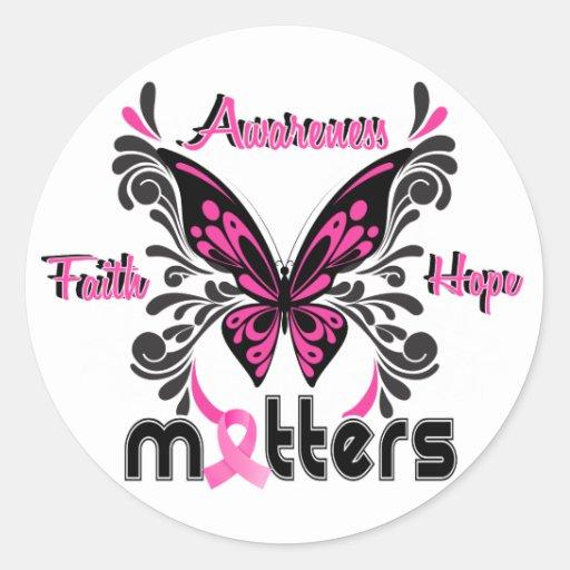 Mariposa 7 del cáncer de pecho etiqueta redonda