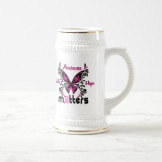 Mariposa 7 del cáncer de pecho tazas de café